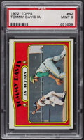 Baseball Cards:Singles (1970-Now), 1972 Topps Tommy Davis In Action #42 PSA Mint 9 - Only Four Higher....