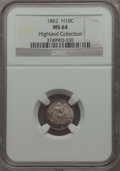Seated Half Dimes: , 1862 H10C MS64 NGC. Ex: Highland Collection. NGC Census: (171/160). PCGS Population: (148/185). CDN: $365 Whsle. Bid for pr...