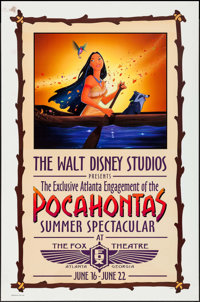 "Pocahontas Atlanta Engagement at the Fox Theater (Buena Vista, 1995). One Sheet (27"" X 41"") SS Advance. Animat..."