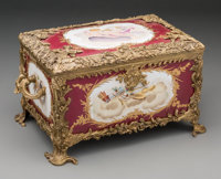 A Sevres-Style Porcelain and Bronze Table Casket 7-1/2 h x 14-1/2 w x 9-1/2 d inches (19.1 x 36.8 x 24.1 cm)