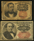 Fractional Currency:Fifth Issue, Fifth Issue Fractionals Very Good.. Fr. 1266 10¢;. Fr. 1309 25¢..... (Total: 2 notes)