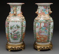 Asian:China Trade, A Pair of Chinese Export Porcelain Rose Canton Vases. 14-3/8 incheshigh (36.5 cm). ... (Total: 2 Items)