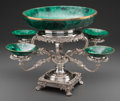 Decorative Arts, Continental:Other , A Regency-Style Silver-Plated and Malachite Epergne. 13-1/2 incheshigh x 23-1/2 inches diameter (34.3 x 59.7 cm). ...