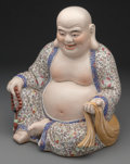 Ceramics & Porcelain, A Chinese Enameled Porcelain Figure of a Seated Fat and Happy Buddha. Marks: (multi-character mark). 16-3/4 inches high (42....