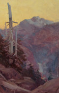 Fine Art - Painting, American:Modern  (1900 1949)  , Frank Tenney Johnson (American, 1874-1939). Purple MountainMajesty, 1915. Oil on canvas. 17-1/2 x 12 inches (44.5 x 30....