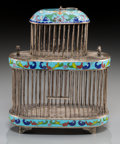 Asian:Chinese, A Chinese Export Silvered and Cloisonné Cricket Cage. Marks:(multi-character mark). 8-3/4 h x 7 w x 3-1/2 d inches (22.2 x ...