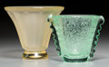 Art Glass:Daum, Two Daum Art Deco Yellow and Green Glass Vases. Marks: DAUM, NANCY, FRANCE. 7-1/2 inches high x 8-1/2 inches diameter (1... (Total: 2 Items)