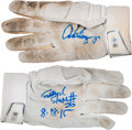Baseball Collectibles:Others, 2015 Alex Rodriguez 25th Career Grand Slam & 684th Home Run Individual Game Worn Batting Gloves....