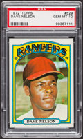 Baseball Cards:Singles (1970-Now), 1972 Topps Dave Nelson #529 PSA Gem MT 10 - Pop Four. ...