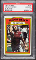 Baseball Cards:Singles (1970-Now), 1972 Topps Johnny Bench In Action #434 PSA Gem MT 10 - Pop Six. ...