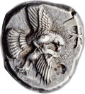 Ancients:Greek, Ancients: ELIS. Olympia. Ca. 450-440 BC. AR stater (25mm, 12.45 gm,11h). Choice XF, countermarks. ...