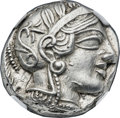 Ancients:Greek, Ancients: ATTICA. Athens. Ca. 454-404 BC. AR tetradrachm (25mm,17.19 gm, 8h). NGC Choice AU 5/5 - 5/5....