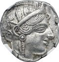 Ancients:Greek, Ancients: ATTICA. Athens. Ca. 454-404 BC. AR tetradrachm (24mm,17.18 gm, 9h). NGC Choice AU 5/5 - 5/5....