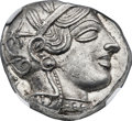 Ancients:Greek, Ancients: ATTICA. Athens. Ca. 454-404 BC. AR tetradrachm (25mm,17.21 gm, 9h). NGC MS 5/5 - 4/5....