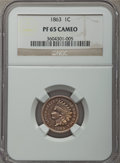 Proof Indian Cents, 1863 1C PR65 Cameo NGC....