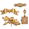 Estate Jewelry:Lots, Retro Gold, Yellow Metal Jewelry. ... (Total: 4 Items)