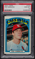 Baseball Cards:Singles (1970-Now), 1972 Topps Ted Simmons #154 PSA Gem MT 10 - Pop Five. ...