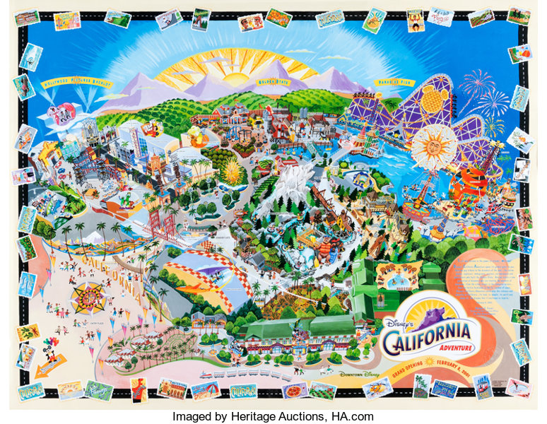 Map Of California Disney.Disney S California Adventure Map Walt Disney 2001 Lot