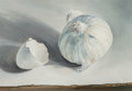 Fine Art - Painting, American, William Llewellyn Hoey (American, 1930-1994). White StillLife, 1964. Oil on board. 4-3/4 x 6-1/2 inches (12.1 x 16.5cm...