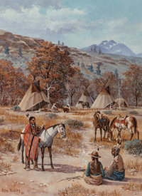 Gene Renner Mobley (American, 20th Century) Plains Indians with Horses, 1980 Oil on burlap 16 x 1