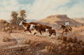 Fine Art - Painting, American, Mel Bradshaw (American, 20th Century). Starting to Gather,1980. Oil on canvas. 20-1/2 x 30 inches (52.1 x 76.2 cm). Sig...