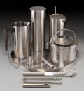 Decorative Arts, Continental, A Five-Piece Stelton Stainless Steel Bar Set with Bar Tools, circa1970. Marks: (various). 14 inches diameter (tray). 9-5/8 ...(Total: 6 Items)