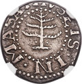 Colonials, 1652 6PENCE Pine Tree Sixpence, Pellets at Trunk, XF45 NGC. Noe-33, W-670, Salmon 2-B, R.3....