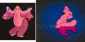 Animation Art:Concept Art, Dumbo Pink Elephant Concept Art and Production Cel (WaltDisney, 1941). ... (Total: 2 Items)