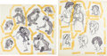 animation art:Model Sheet, The Black Cauldron Taryn, Elowyn, and Gurgi Model Sheets byMilt Kahl Group of 2 (Walt Disney, 1985).... (Total: 2 OriginalArt)