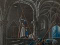 Animation Art:Production Drawing, Sleeping Beauty Castle Concept Storyboard by Kay Nielsen (Walt Disney, 1959)....