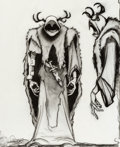 "Animation Art:Concept Art, The Black Cauldron ""The Horned King"" Character DevelopmentArt by Mike Ploog (Walt Disney, 1985)...."