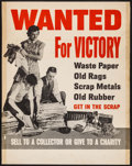 """Movie Posters:War, World War II Propaganda (U.S. Government Printing Office, 1942).Poster (21.25"""" X 27"""") """"Wanted for Victory."""" War.. ..."""