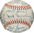Baseball Collectibles:Balls, 1965 Hall of Fame Induction Multi-Signed Baseball, PSA/DNA NM-MT+8.5....