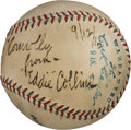 Baseball Collectibles:Balls, 1915 Eddie Collins Single Signed Baseball to Hall of Fame UmpireTommy Connolly....