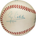 Baseball Collectibles:Balls, 1950's .400 Hitters Multi-Signed Baseball with Cobb, Hornsby,Williams....