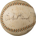 Baseball Collectibles:Balls, 1915 Eddie Plank Single Signed Federal League Baseball--Finest Known!. ...