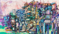 "Animation Art:Production Drawing, Walt Peregoy ""Seaside Village"" Pastel Original Art (Walt Disney, c.1970s). ..."