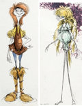 Animation Art:Concept Art, Tim Burton The Black Cauldron Character Design Concept Art Group of 2 (Walt Disney, 1977)....