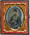Photography:Tintypes, Civil War Ninth Plate Tintype of a Seated Union Soldier With Musket....