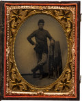 Photography:Tintypes, Civil War Quarter-Plate Tintype of a Union Soldier Purported to be Private Josiah Wohlford, Company A, Indiana 118th Infantry ...