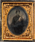 Photography:Tintypes, Civil War Ninth Plate Tintype of an Unidentified Soldier....