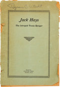 Books:Americana & American History, John Marvin Hunter. Jack Hays: The Intrepid Texas Ranger....