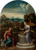 Fine Art - Painting, European:Antique  (Pre 1900), Master of the Twelve Apostles (Italian, 1470-1580). Christ and the Samaritan woman at the well. Oil on panel, with arche...