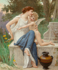 Guillaume Seignac (French, 1870-1924) Disarming Cupid Oil on canvas 25-1/2 x 21-1/4 inches (64.8
