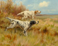 Fine Art - Painting, European:Antique  (Pre 1900), Thomas Blinks (British, 1860-1912). English setters onpoint. Oil on canvas. 14 x 18 inches (35.6 x 45.7 cm). Signedlow...