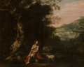 Paintings, Antonio de Bellis (Italian, 1610-1700). St. John the Baptist in the wilderness. Oil on canvas. 47-3/4 x 55-1/4 inches (1...
