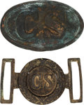 Military & Patriotic:Civil War, Confederate Officer Sword Belt Plate and Enlisted Belt Plate.... (Total: 2 Items)
