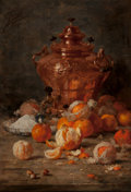 Paintings, Eugene Joors (Belgian, 1850-1910). Still life with oranges and copper samovar, 1890. Oil on canvas. 40 x 27-1/4 inches (...