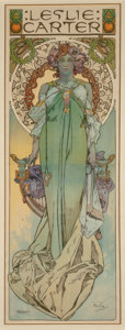 Fine Art - Work on Paper:Print, Alphonse Mucha (Czechoslovakian, 1860-1939). Leslie Carter,1908. Lithograph in colors on paper. 78-1/2 x 36-1/2 inches ...