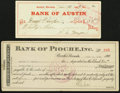 Obsoletes By State:Nevada, Austin, NV- Bank of Austin Check $33 Jan. 14, 1909;. Pioche, NV- Bank of Pioche, Inc. Certificate of Deposit $55 June 11... (Total: 2 items)